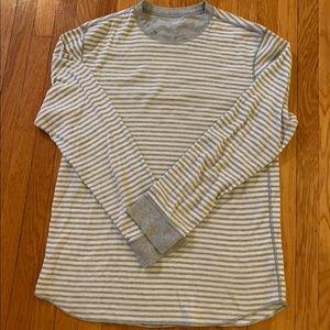 Gap gray/white striped LS thermal shirt Large